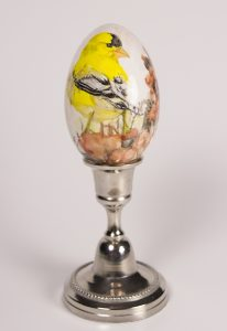 American Gold Finch, Watercolour on goose eggshell