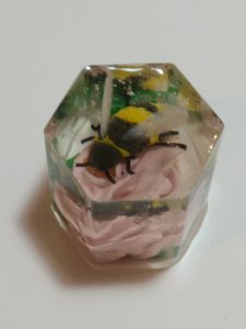 Clay Bee On Flower, Clay and resin