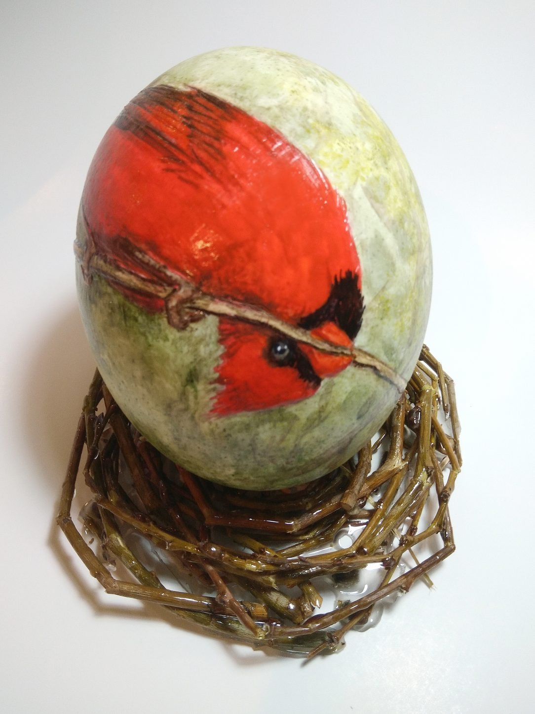 Cardinal, Watercolour on ostrich eggshell