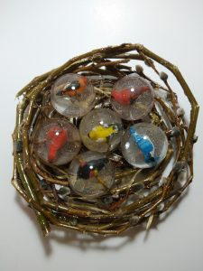 Birds In Resin, In A Nest, Mixed Media