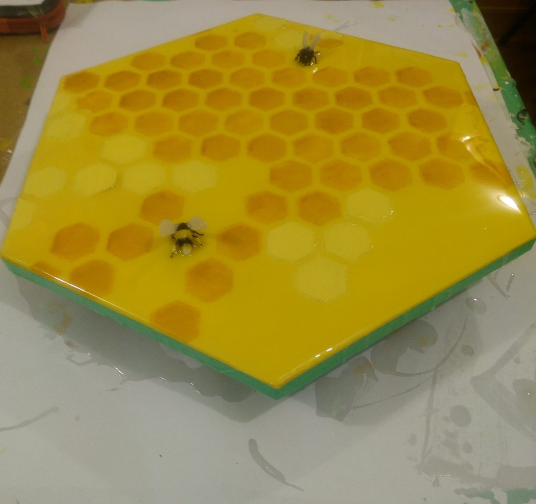 A painting coated with epoxy resin